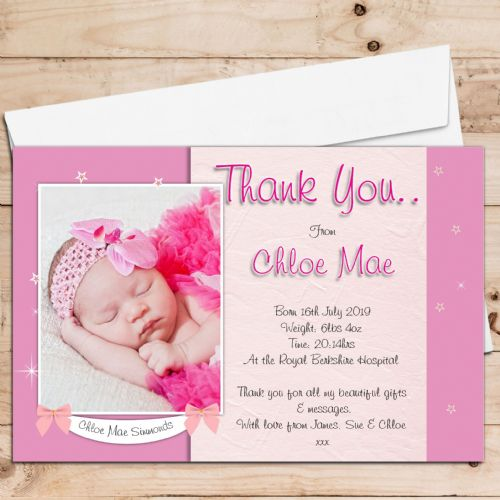 10 Personalised Baby Girl Birth Announcement Thank You PHOTO cards N102